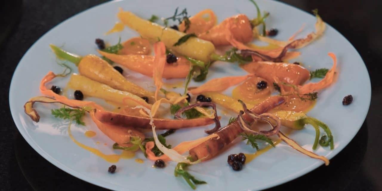 Les jeunes carottes étuvées au curcuma et kumquat d'Éric Briffard